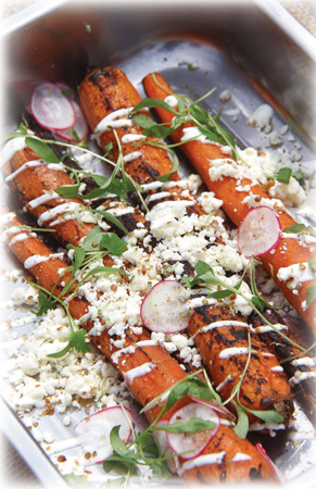 Charred Carrots with Toasted Coriander Seed, Cotija Cheese & Lime Mayo