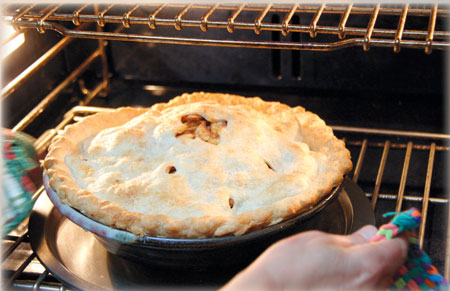 A very large apple pie