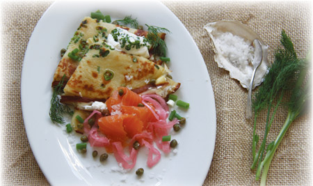 Green Onion Crepes with Smoked Salmon