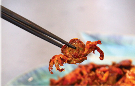 Crispy Fried Asian Shore Crab