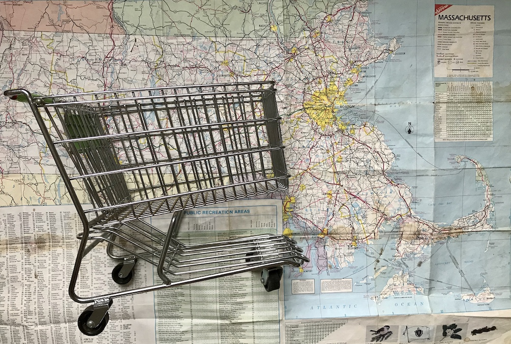 Massachusetts map with shopping cart