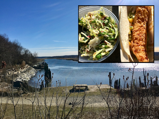 PICNIC LUNCHBREAK: Enjoying Takeout from The Rivershed in The Driftway Conservation Park, Scituate