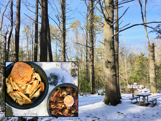 PICNIC LUNCHBREAK: Enjoying Takeout from Cheever's Tavern at Miller Woods, Norwell